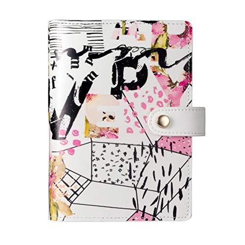 Rubywoo's Regeneriertes Leder Journal Travel Composition Notizbuch Runder Ringbuch-Knopf Filofax Planer Nachfüllungen für monatliche wöchentliche tägliche Premium-Dickpapier(Abstract Letters, A6)