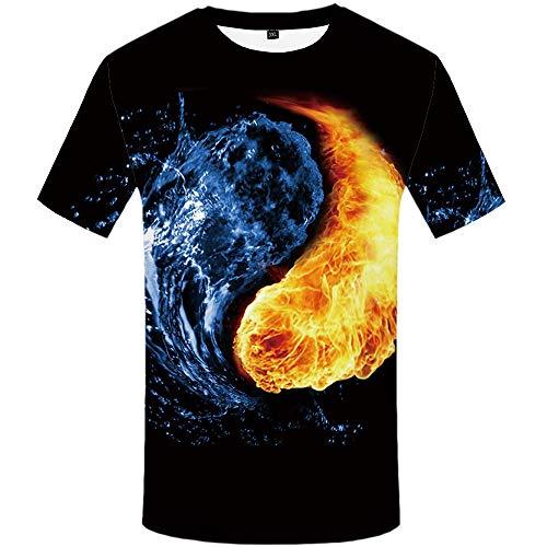 Blwz T-shirt voor heren, zomer, Club Street 3D poloshirt voor water en vuur, bedrukt, unisex, voor thee, casual, 1 paar