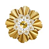 Reloj de Pared Grande, Reloj de Pared Americano Que No Hace Tictac de la Flor de Ginkgo Biloba para la Decoración de la Sala de Estar del Dormitorio de la Cocina de la Oficina en Casa,70x70cm