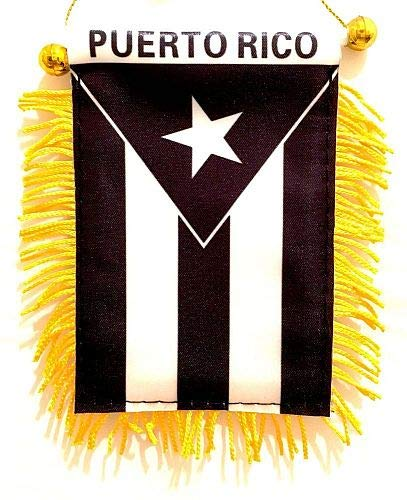 Puerto Rico Black & White Window Hanging Flag - Rear View Mirror & Double Sided - Fringed Puerto Rican Mini Banner with Suction Cup