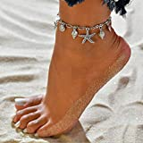 Jeweky Boho Starfish Anklets Silver Shell Ankle Bracelets Chain Beach Conch Foot Jewelry for Women and Girls