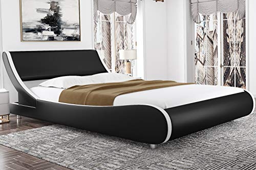 Amolife Modern King Size Platform Bed Frames with Adjustable Headboard,Mattress Foundation Deluxe Solid Faux Leather Bed Frame King Size with Wood Slat Support (Black with White Border)