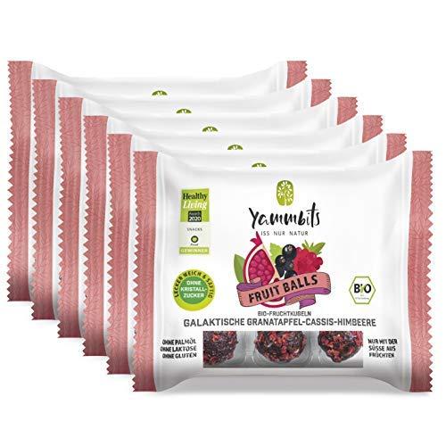 Yammbits Fruchtkugeln Galaktische Granatapfel-Cassis-Himbeere 6er-Set (6x 70g) | 100% Frucht, 0% Zuckerzusatz aus Bio-Früchten | Gesunde und Leckere Snacks [Vegan, Glutenfrei]