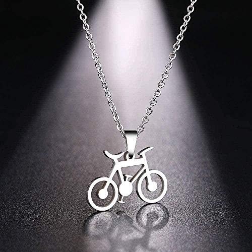 AOAOTOTQ Co.,ltd Collar de Acero Inoxidable para Mujer, Hombre, clásico, Gargantilla de Bicicleta, Colgante, Collar, joyería de Compromiso