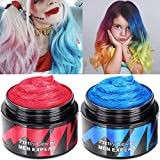 Temporary Hair Dye Wax - Color Wax Hair Dye washable Hair Cream Mud Unisex Natural Matte Hairstyle for Party, Cosplay 2 Colors