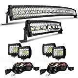 Led Light Bar Kit,EDITOP 42 Inch 900W+22 Inch 450W Curved Spot Flood Combo Beam Offroad Lights+4Pcs 4 Inch 60W Led Fog Lights W/Rocker Switch Wiring Harness for Jeep Trucks Ford ATV UTV Polaris Boats