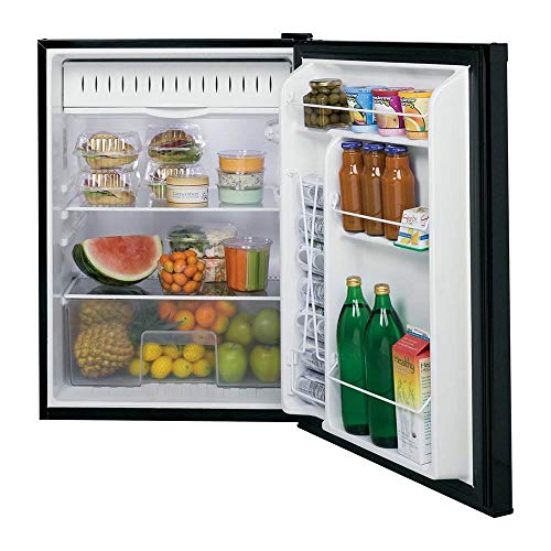 GE GCE06GGHBB Spacemaker 5.6 Cu. Ft. Compact Free-Standing Refrigerator, Black On Black, Reversible Door Swing