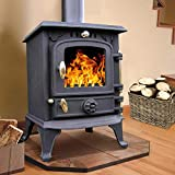 Lincsfire Harmston JA013S 5.5KW Multifuel Stove Clean Log Burning Fireplace Cast Iron Wooburner with Mini Stove Fan