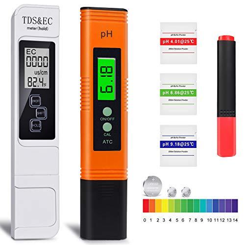 pH Messgerät, TDS Messgerät, EC und Temperatur Messgerät 4 in 1 Set, Leitwertmessgerät mit hoher Genauigkeit und LCD Display, ATC Wasserqualität Tester für Trinkwasser/Schwimmbad/Aquarium/Pools/Labor