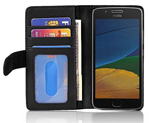 Cadorabo Hülle für Motorola Moto G5 in Oxid SCHWARZ – Handyhülle mit Magnetverschluss & 3 Kartenfächern – Hülle Cover Schutzhülle Etui Tasche Book Klapp Style