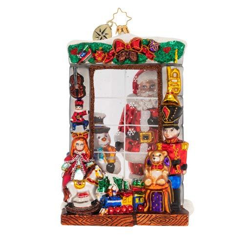 Christopher Radko Hand-Crafted European Glass Christmas Decorative Figural Ornament, Window Full of Magic