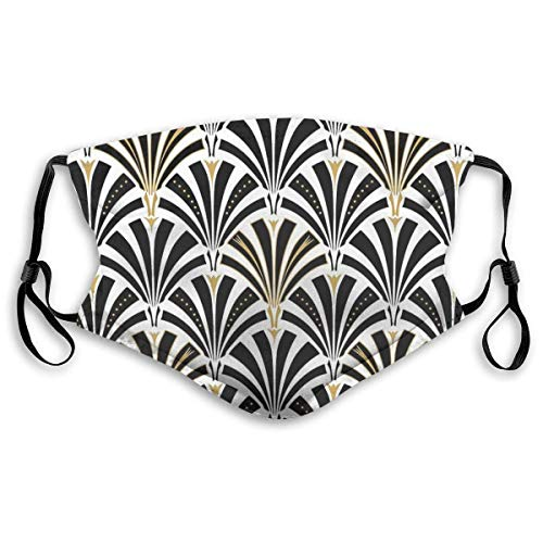 YYTT8 Gesichtsschutz Mundschutz Art Deco Fan Muster, Schwarz und Hut Hals Gamasche Kopfbedeckung mit austauschbaren Filtern