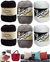 Lily Sugar n' Cream Variety Assortment 6 Pack Bundle 100% Cotton Black White Grey Medium 4 Worsted with 3 Patterns