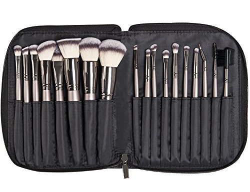Kraumetik Juego de brochas de maquillaje, 18 piezas, incluye bolsa de poliuretano, color negro