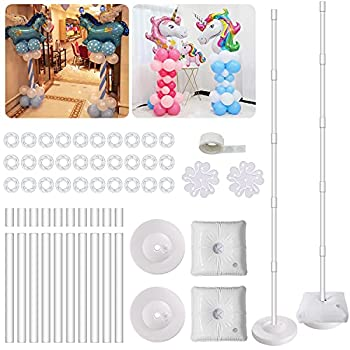 IDAODAN 2 Set Balloon Column Kit Base Stand and Pole 61 inch Height [UPGRADED] + 30Pcs Balloon Rings Balloon Tower Decoration for Birthday Party Wedding Party Event Christmas Decorations