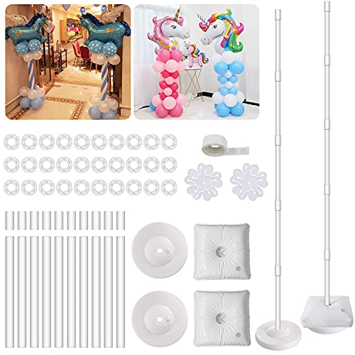IDAODAN 2 Set Balloon Column Kit Base Stand and Pole 61 inch Height [UPGRADED] + 30Pcs Balloon Rings, Balloon Tower Decoration for Birthday Party Wedding Party Event Christmas Decorations