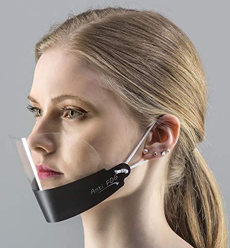 5 x Visier Gesichtsschutz Gesichtsvisier Gesichtsschutzschild Anti-Fog Face Shield KEIN BESCHLAGEN (Schwarz)
