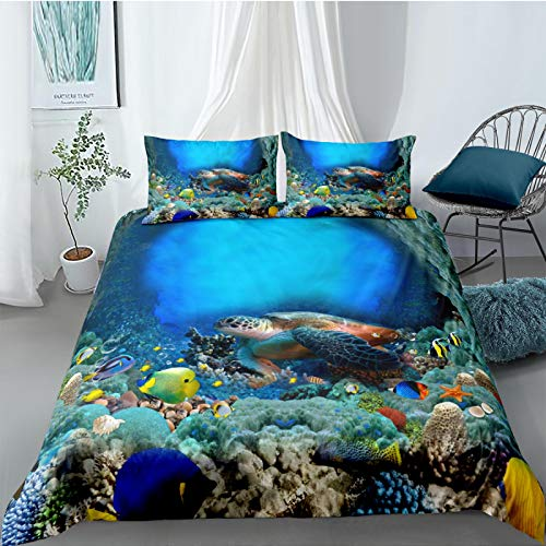 LucaSng Duvet Cover 3 Bedding Sets Microfiber Fish turtle sea landscape Single Duvet Cover Apply To Home Bedroom Boy Girl Modern Style Cosy Soft Duvet Cover