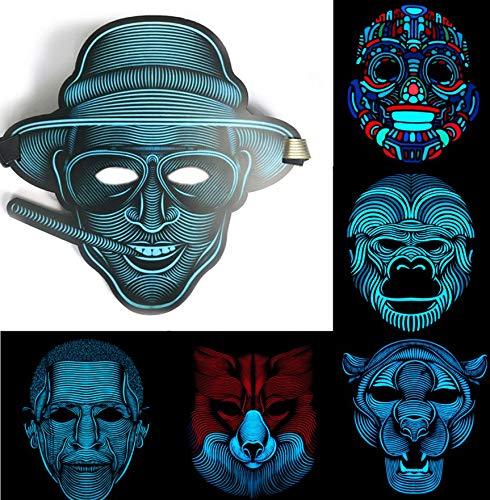 ZuoLan Sound Reactive LED Máscara Street Dance Rave Party Cosplay Máscaras de...