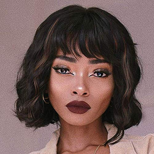 """Miss Diva Short Wavy Bob Style Wigs Synthetic Wigs Curly Wigs For Women 12"""" Replacement Wigs With Bangs(14""""-1B)"""