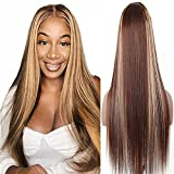 Perruque Naturelle Blonde Silky Straight T Part 13x4x1 Lace Front Wigs Human Hair For Black Women Deep Middle Part Lace Wig Pre Plucked With Baby Hair P4/27 Perruque Bresilienne Ombre 24 Pouce