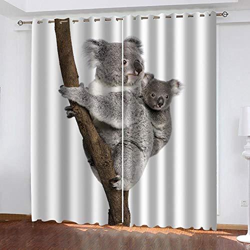 JFBedding 3D Ojales Cortinas Madre E Hijo Koala Gris Resistente al Calor y la Luz para Opacas Salón Dormitorio,Opacas Cortina Oficina Moderna Decorativa Reducción de Ruido 2 Paneles 75 X 166 cm