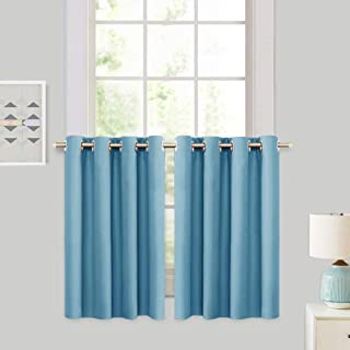 RYB HOME Thermal Insulated Curtain Tiers, Heat Block Privacy Protected Panels Grommet Top Window Treatment Tiers, Small Window Curtain Half Drapes for Kitchen,52 x 36 in, Blue Mist, 2 Panels