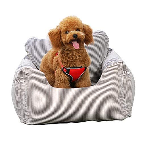 ペット用ドライブボックス車用ペットシート座席シート折り畳み式カバー飛び出し防止防水通気洗濯可汚れにくい犬猫旅行ペットキャリー(グレーストライプ)