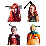 4Pcs Weapons Headband Decorations Clearance, Bloody Scary Fake Accessories Plastic Knife Axe Cleaver and Scissor Through Head Prop for Party Costumes, Black Headband Decor for Adults Men Women Kids