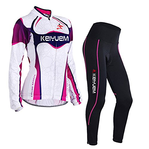 LSHEL Damen UV-Schutz Radbekleidung Set Radhose Trikot Lange Ärmel Sportbekleidung, violett, EU M(Label: L)