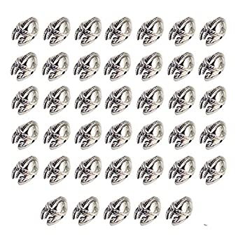 Mystart 40 Pieces Antique Silver Alloy Helmet Loose Beads Charms DIY Jewelry Bracelet Spacer Beads Accessories