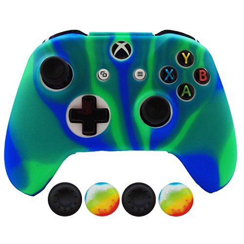 Hikfly Silicona Controlador Cubrir Piel Protector Caso Placas Frontales Kits con 4pcs Thumb Grips Kit para Xbox One S / Xbox One X Controller(Azulverde)