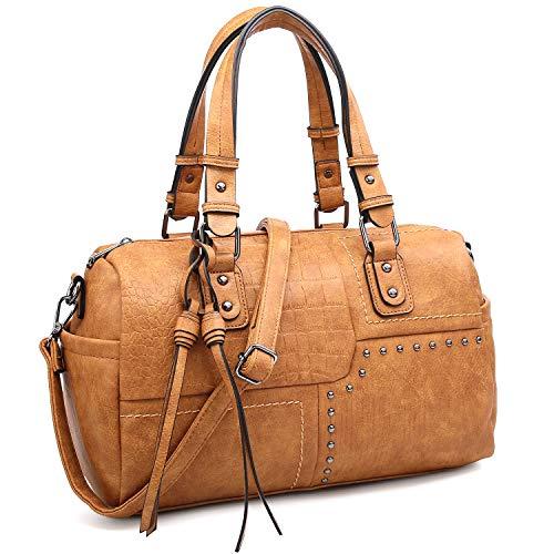 Dasein Women Soft Vegan Leather Barrel Bags Large Top Handle Totes Satchel Handbags Shoulder Purse (Tan)