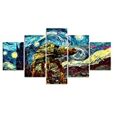 JIUH Halloween, Modular 5 Pieces Canvas Wall Art Painting Star Wars The Starry Night Wall Pictures for Living Room Posters and Prints Artwork - Giclee Artwork 40×22 Inch