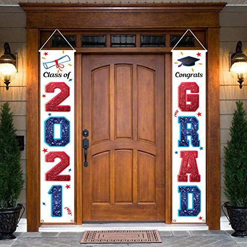 KMUYSL 2021 Graduation Banners,Hanging Flags Porch Sign & Class of 2021 Banner,Graduation Party Decorations Supplies for Indoor/Outdoor Home Door Décor (Red and Blue)