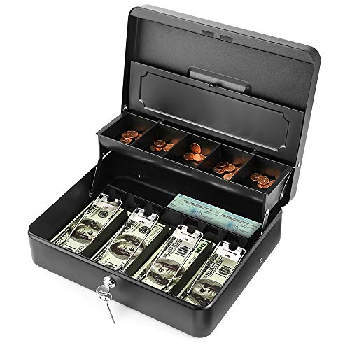 INFUN Cash Box with Money Tray and Lock, Durable Large Steel Money Boxes for Adults, Black Petty Cash Box (Cash Box with Coin lid)
