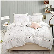 YZZ COLLECTION Kids Twin Bedding Duvet Cover Set,Premium Microfiber,Mini Cats Pattern On Comforter Cover-3pcs:1x Duvet Cover 2X Pillowcases,Comforter Cover with Zipper Closure