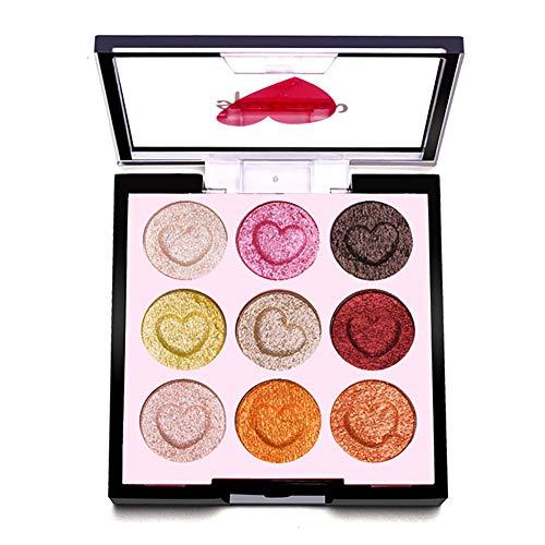 Beito 1pc Pro Eye Shadow Palette haute pigmenté mat Shimmer fard à paupières poudre Blendable yeux de maquillage 9 couleurs en forme de coeur de fard à paupières cosmétiques Kit (2)