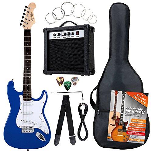 Rocktile ST Pack guitarra eléctr Set azul incl. ampl, bolsa, afinador, cable,...
