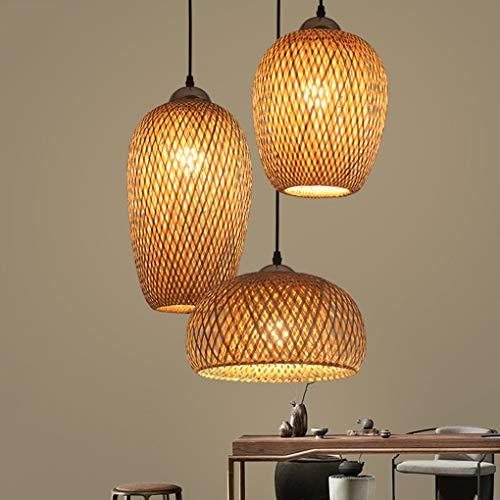 Handgewebte Bambus-Pendelleuchte, handgewebte Rattan-Pendelleuchte, 3-Licht-Bambusschirm, natürliche Lichter im Landhausstil, kreativer Rattan-Kronleuchter E27 für das Esszimmer in der Küche