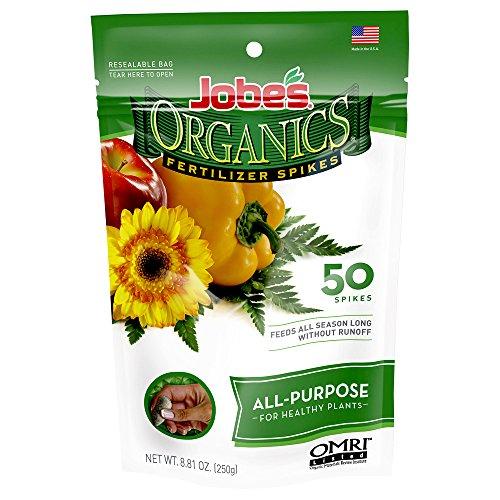 Jobe's Organics All Purpose Fertilizer Spikes, 4-4-4 Organic Time Release Fertilizer for All Plants, 50 Spikes per Package