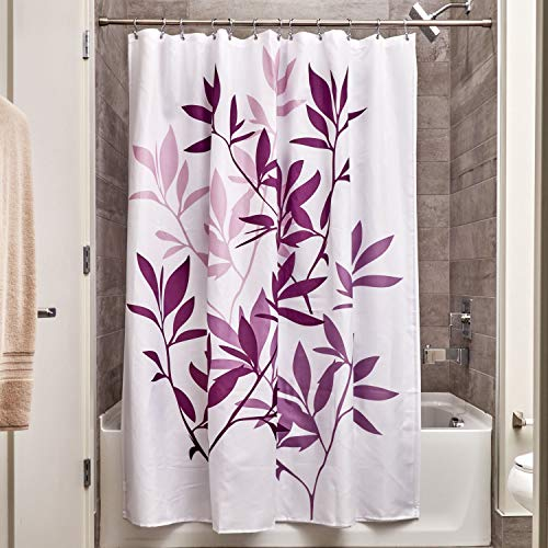iDesign Leaves Fabric Shower Curtain, Modern Mildew-Resistant Bath Curtain for Master Bathroom, Kid's Bathroom, Guest Bathroom, 72 x 72 Inches, Purple and White