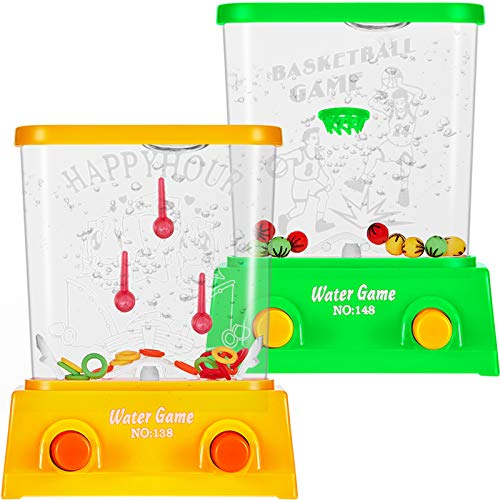 2 Pieces Water Handheld Game Mini Water Ring Game Water Ring Toss and Basketball Aqua Arcade Toy for Party Favor Fun Game for Most Ages, Without Water