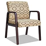 Alera ALERL4351M Reception Lounge Series Guest Chair, Mahogany/Tan Fabric