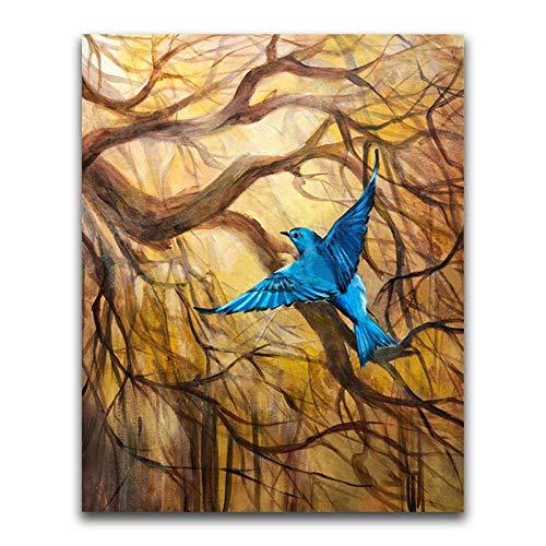 Lazodaer - Kit de pintura de diamante 5D redondo completo redondo para decoración del hogar y pájaros azules de 30 x 39,9 cm