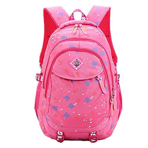 Bom Bom Mochilas Escolares Impermeable con Correas Ajustables Mochilas de Estudiantes para Niñas (rosado)