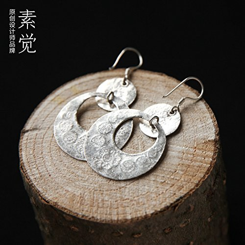 BAGEHAN Handgemachte Volksmusik Style 925 Silber Anhänger Ohrringe Ohrringe Ohrringe Intime Tremella große Dame Folk Style Ohrringe