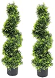 momoplant Artificial cypress spiral topiary trees Topiary Trees Artificial Plants Green Spiral Cypress Tree Fake Plant Swirl Topiaries decoration Indoor or Outdoor,35 Inch Spiral Tree-2 Pack