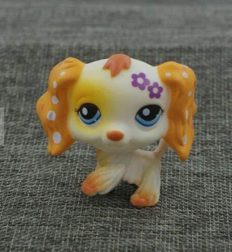 Littlest Pet Shop LPS Cocker Spaniel Dog Purple Flower Puppy Toys Blue Eyes