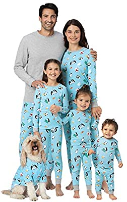 PajamaGram Matching Christmas PJs for Family, Blue Penguin, 12 Months by PajamaGram